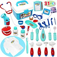 JOYIN Toy Kids Doctor Kit 31 Pieces Pretend-n-Play Dentist Medical Kit with Electronic Stethoscope and Coat for Kids, School Classroom and Doctor Roleplay Costume Dress-Up.