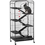 "Yaheetech 52"" 6 Level Indoor Ferret Rabbit Small Animal Cage Hutch Black"