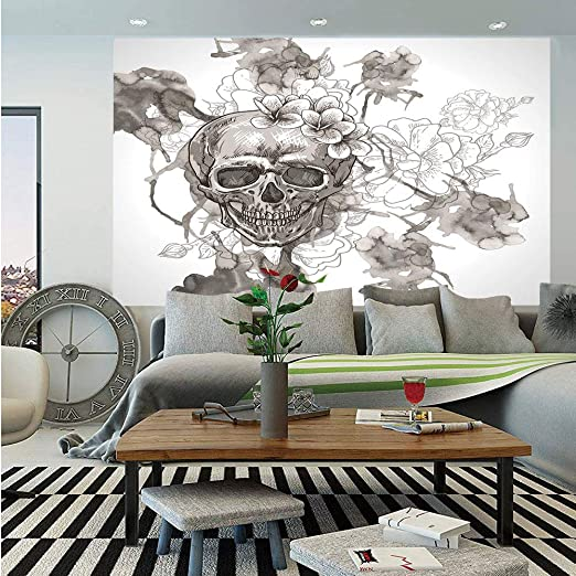 Skull and Flowers Wall Mural Photo Wallpaper GIANT DECOR Paper Poster Free Paste