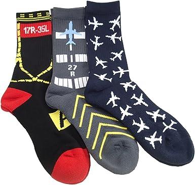 Amazon.com: Set of 3-Pairs, Aviation-Themed Premium Crew Socks: Clothing
