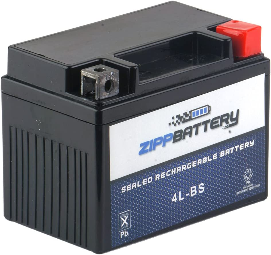 Zipp Battery YTX4L-BS - Replacement Rechargeable AGM Battery, Maintenance Free, Factory Activated, Ready to Use