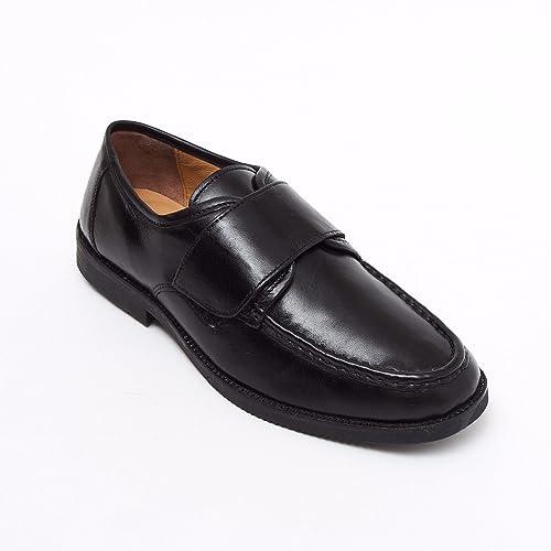 95b47ce05849 Lucini Formal Men Black Leather Velcro Heels Smart Shoes Slip On Wedding  Loafer Men UK