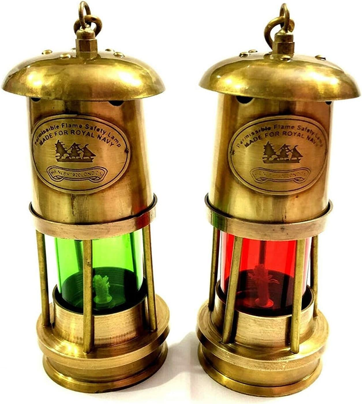 Nautical Collection Gifts Set of 2 Antique Brass Minor Lamp Vintage Nautical Ship Boat Light Lantern Decor Home Decorative