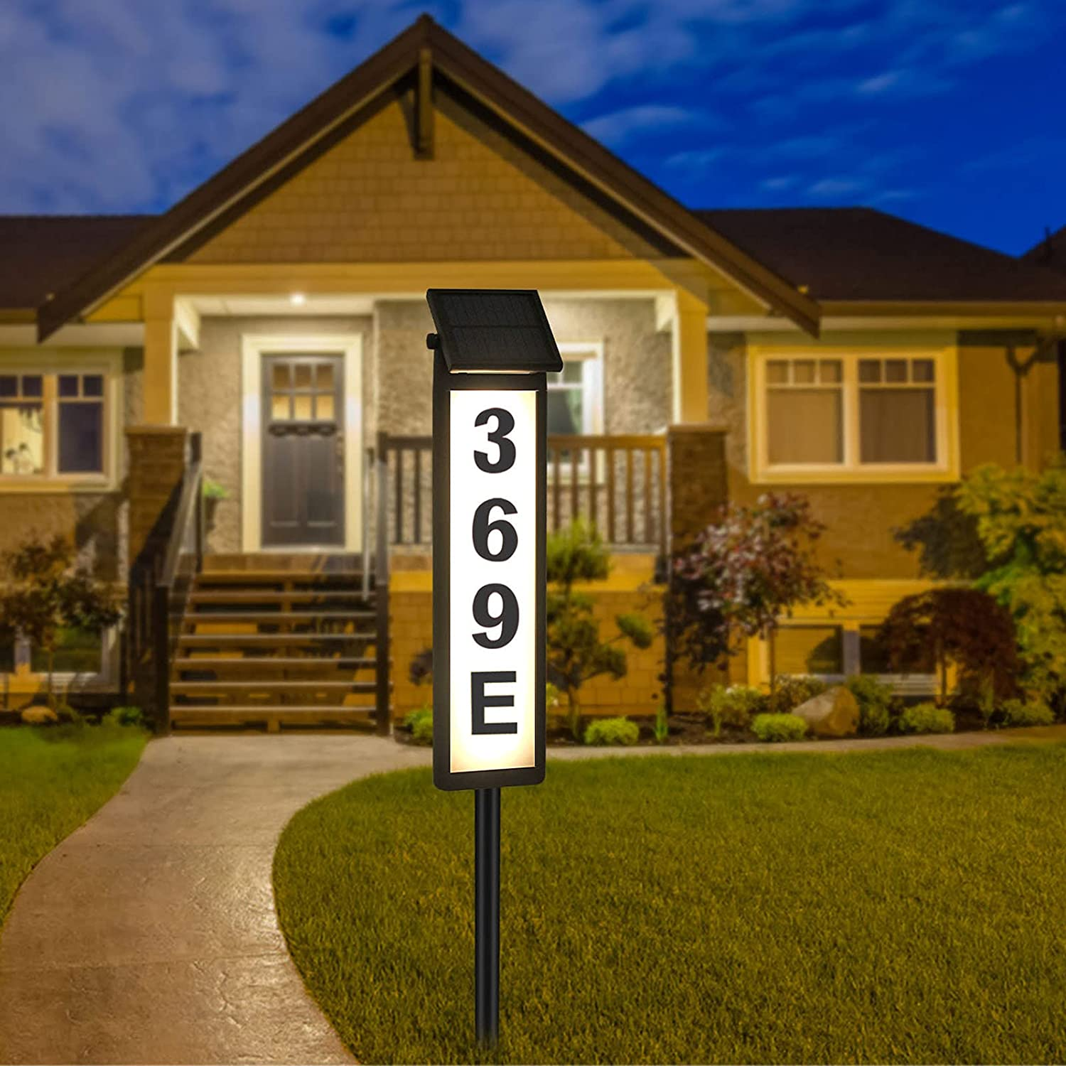 Melunar Solar House Address Numbers Sign, Waterproof Lighted Up Address Plaques with Stake, Solar Powered House Numbers Lights for Outside, Home, Yard, Street, House (Warm White/Cool White)