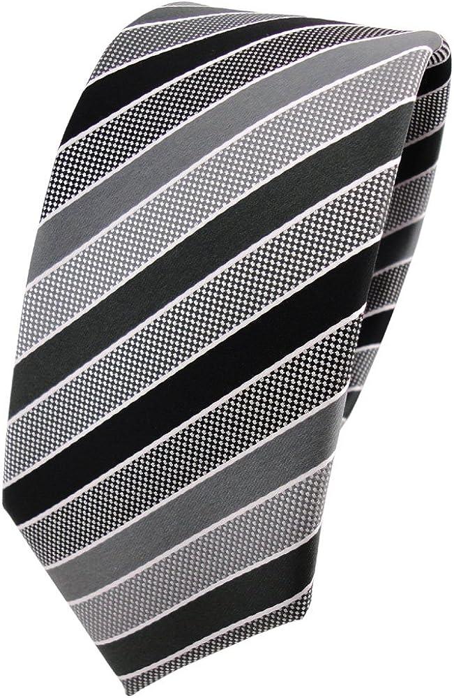 TigerTie - corbata estrecha - antracita negro gris plata rayas ...