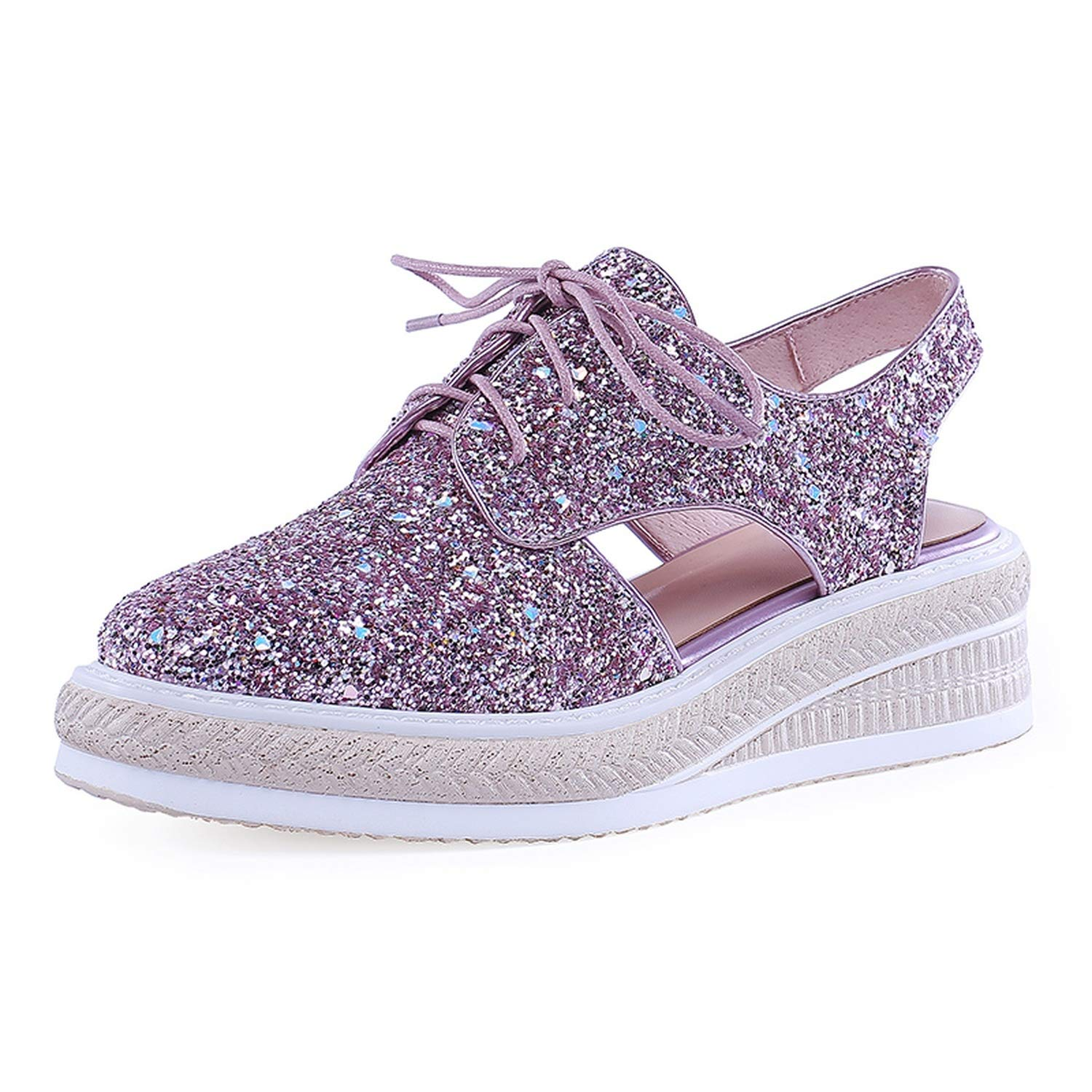 Luxury Bling Lace Up Flat Platform Shoes Woman Casual Party Office Summer Sandals