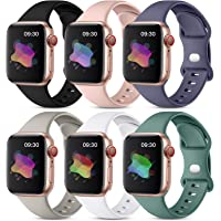 Maledan 6 Pack Bands Compatible with Apple Watch Band 40mm 38mm 44mm 42mm 41mm 45mm Women Men, Soft Silicone Waterproof…