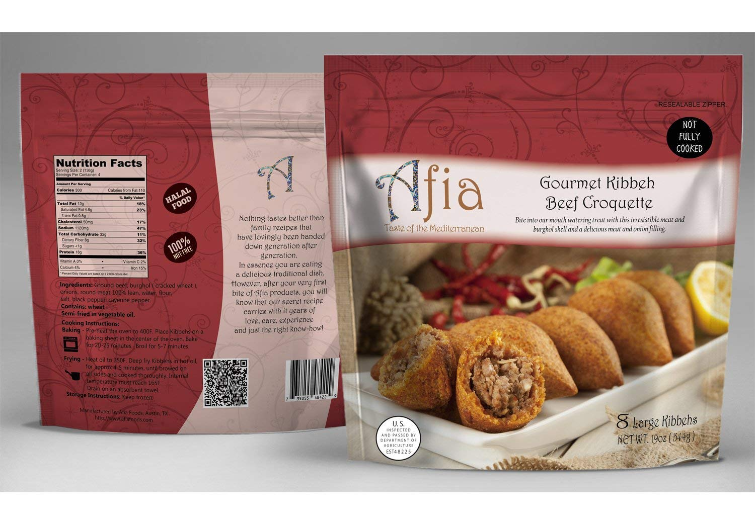 Frozen Large Kibbeh - Pack of 7 Bags (56 count Kibbehs) - Just Heat and Eat!