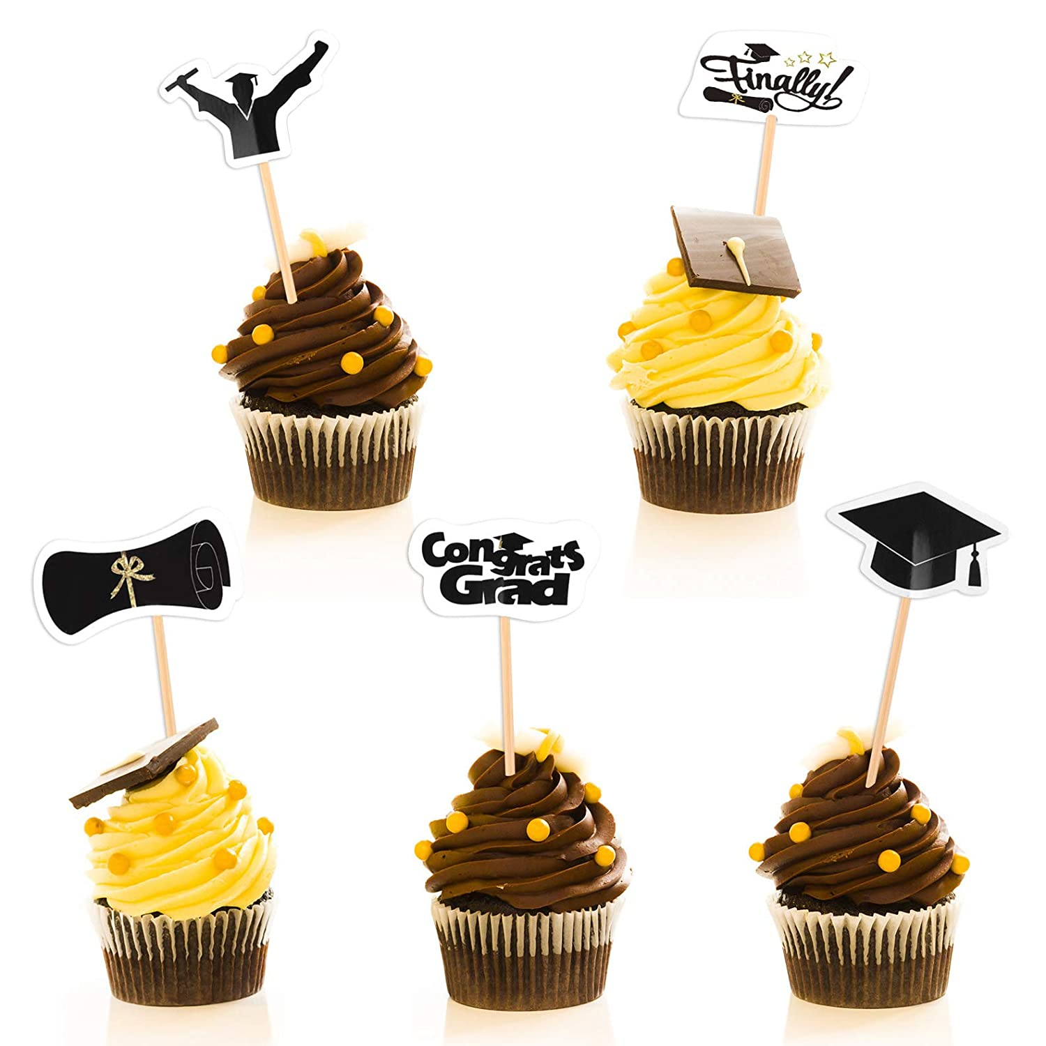 FEPITO 50 Pieces Graduation Cupcake Toppers Cake Decorations Congrats Grad Party Supplies Decorations