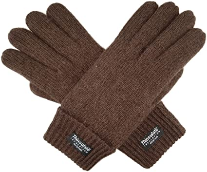 Bruceriver Mens Wool Knit Gloves with Warm Thinsulate Fleece Lining and Durable Leather Palm