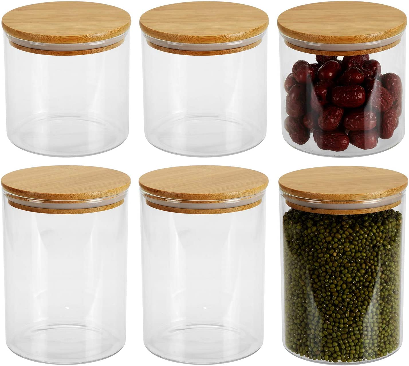 Lawei Set of 6 Glass Food Jars with Bamboo Lids - 36oz 55oz Airtight Glass Canisters Glass Storage Jars for Candy Cookie Rice Beans Snacks