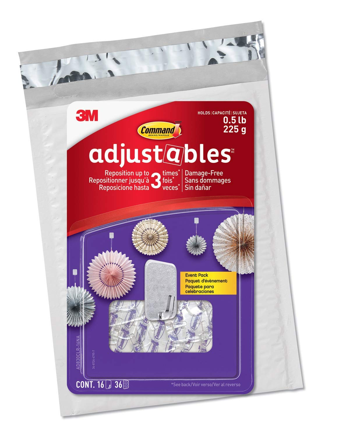 Command Adjustables Repositionable Hooks, hold up to 0.5 lb, 16 Hooks and 36 Strips