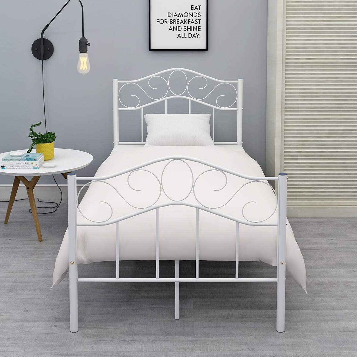 HOMERECOMMEND Metal Bed Frame Twin Size White Platform with Headboard and Footboard No Box Spring Needed Hevay Duty Steel Slats