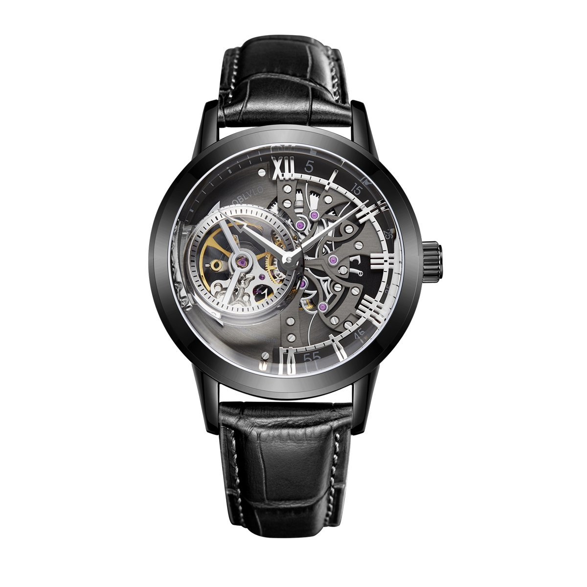OBLVLO Skeleton Mens Watches Black Steel Automatic Watches Leather Strap Tourbillon Watch OBL8238