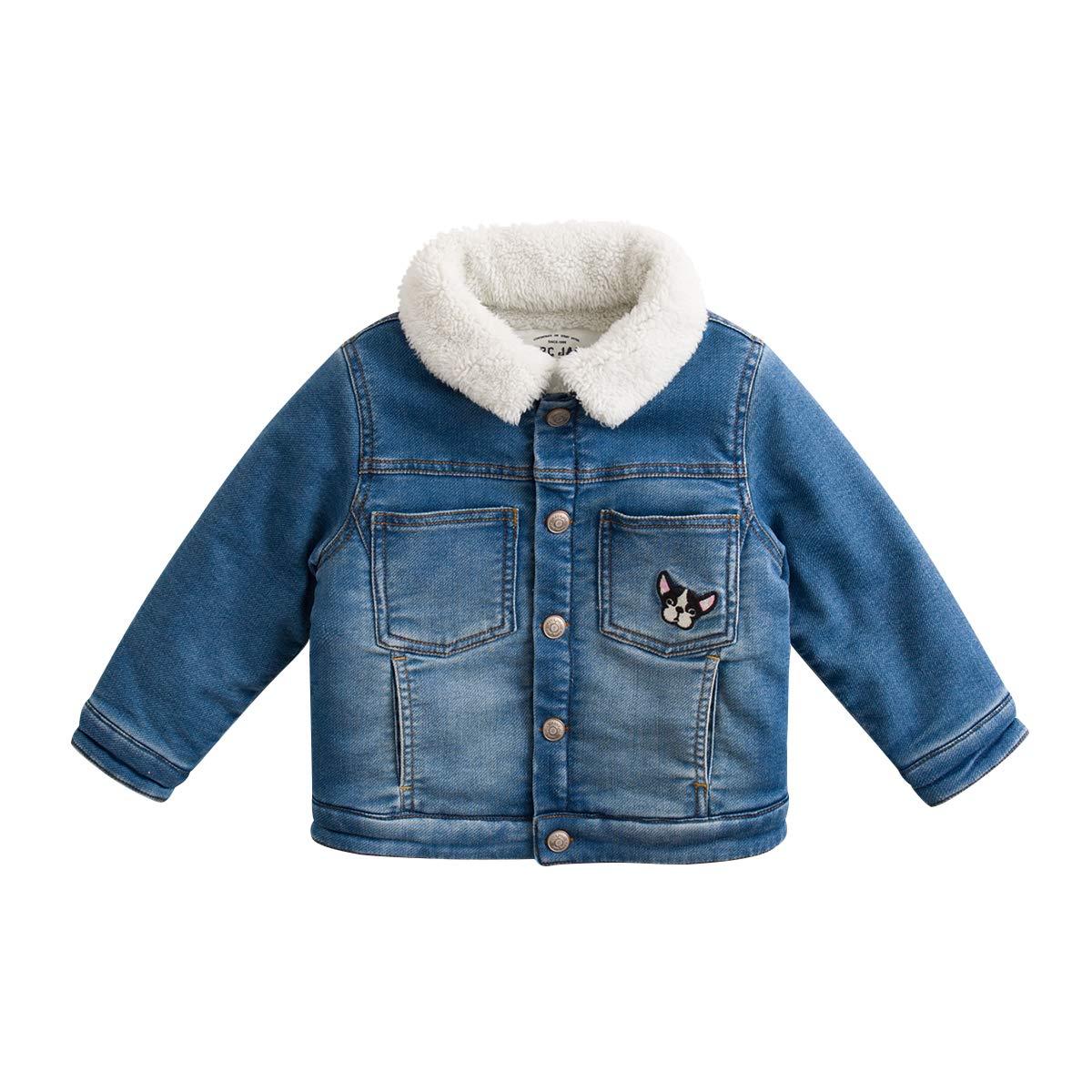 marc janie Little Boys Girls' Thick Denim Jacket Baby Fleece Lined Jacket Coat Denim Blue 70132 3T (90 cm)