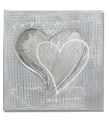 Amazonde Formano Wandbild Leinwand Herz Mit Aluminium Bild Grau