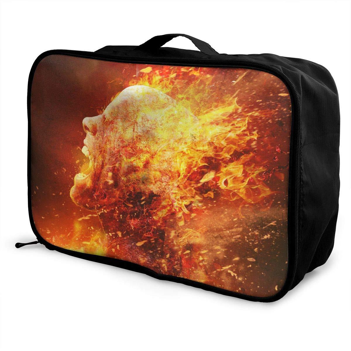 Travel Luggage Duffle Bag Lightweight Portable Handbag Fire Man Large Capacity Waterproof Foldable Storage Tote