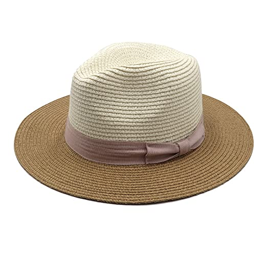 726b50789b4 Womens Foldable Summer Straw Panama Sun Hat Fedora Retro Multicolor Jazz Beach  Cap with Neck Cord