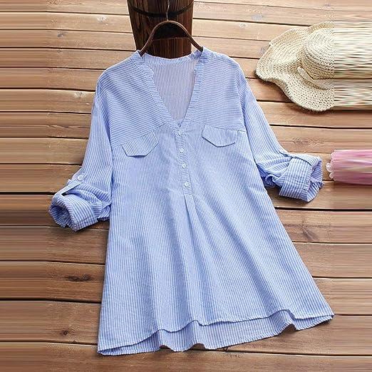 Luckycat Camisa de Rayas de Moda para Mujer Blusa de Bolsillo con Empalme Blusas de Manga Larga con Cuello en V: Amazon.es: Ropa y accesorios