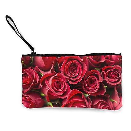 Billetera, Monederos, Rose-Flower-Red Cute Canvas Change ...