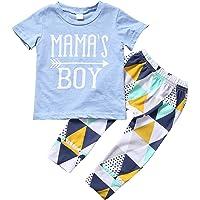 ZIYOYOR Baby Boys Summer 2Pcs Outfit Mama's Boy Short Sleeve T-Shirt Pants Clothing Set