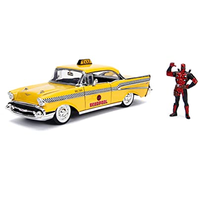 Jada 1957 Chevrolet Bel Air Taxi Yellow with Deadpool Die-cast Figure Marvel Series 1/24 Die-cast Model Car 30290, Multicolor: Toys & Games