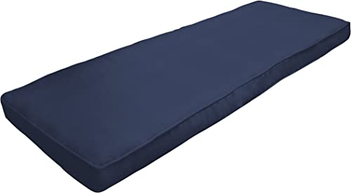 Amazon Custom Furnishings x Easy Way Products 20709 Custom Zipped Double Piped Bench Cushion, 50 x 18 x 2.5 , Sunbrella Canvas Navy