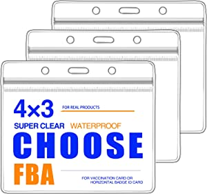 CDC Vaccination Card Protector 4 X 3 Inches CDC Immunization Record or Horizontal Badge Name Label Clear Vinyl Plastic Sleeve with Waterproof Type Resealable Zip (3 Pack)