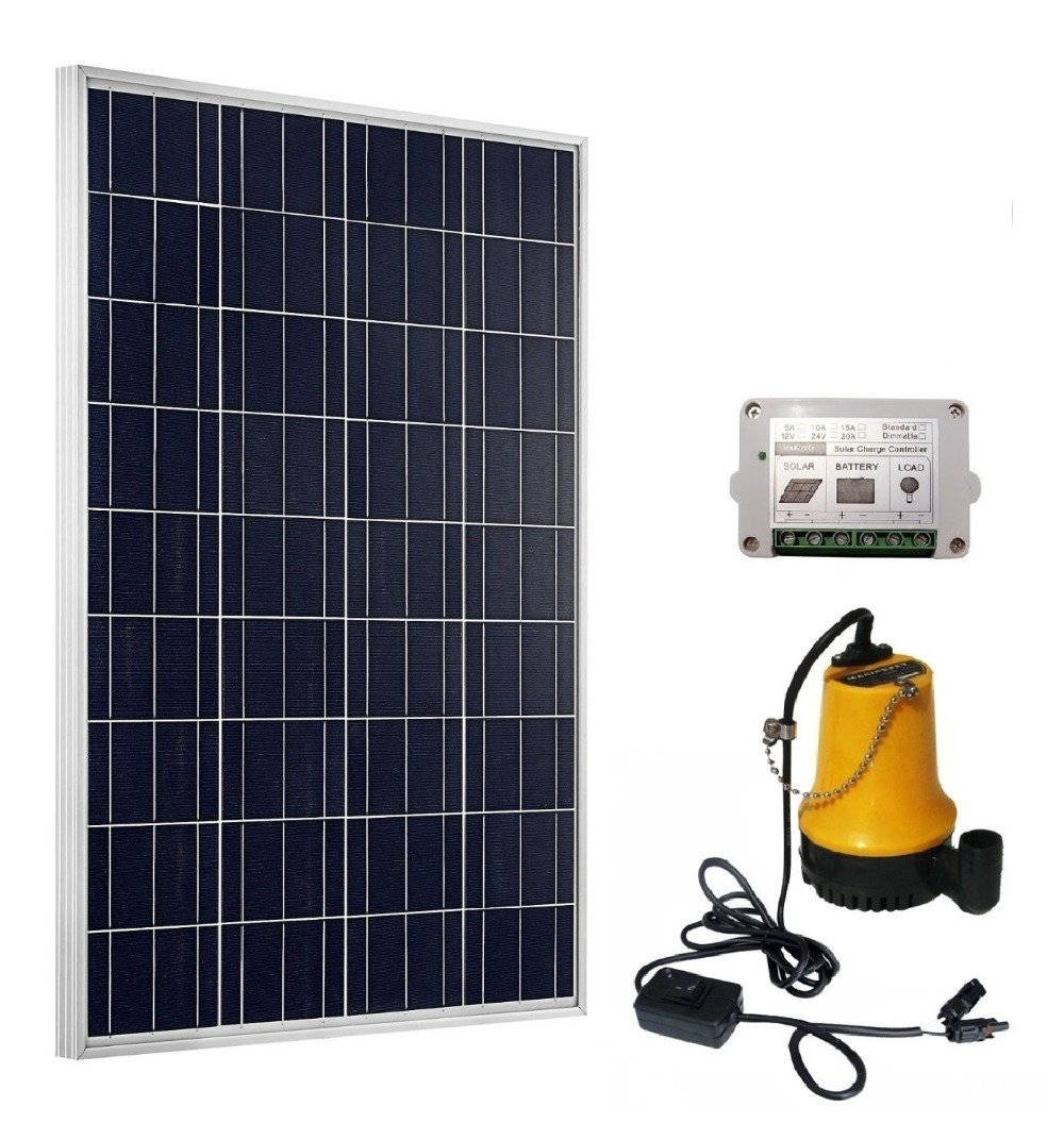 TrendSolar Solar Powered Water Pump System: 100W Solar Panel + 12V Water Pump w/15A Controller - Ponds, Fountains, Pools, Farming