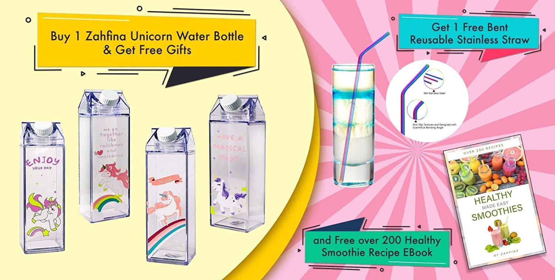 Amazon.com: ZAHFINA - Botella de agua con pajita ...
