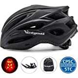 VICTGOAL Bicycle Helmet with Detachable Visor Back Light & Insect Net Padded Adjustable Size Cycling Helmet Lightweight Mountain Bike Cycle Helmets for Men and Women