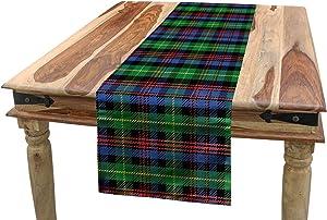 Lunarable Plaid Table Runner, Classic Scottish Tartan Design Colorful Ornate Plaid with Pixel Art Inspirations, Dining Room Kitchen Rectangular Runner, 16