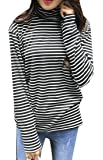 SYTX Womens Casual Turtleneck Long Sleeve Striped Loose T-Shirt Tops