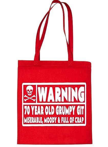 Print4u 70 Year Old Git 70th Birthday Present Shopping Tote Bag Ladies Gift Red