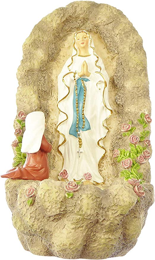 """Our Lady of Lourdes Virgin Mary small Holy water font 6/"""" Inspirations gift 15cm"""