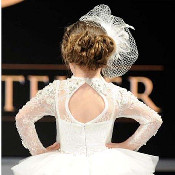 Vestido de princesa Vestido de tul blanco con escote redondo y manga larga: Amazon.es: Ropa y accesorios