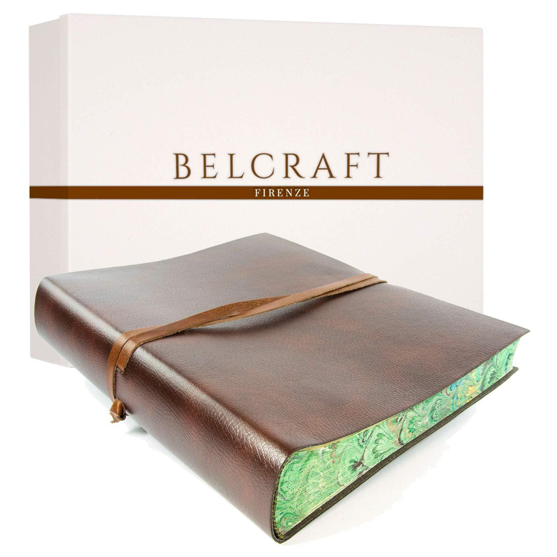 Tuscany Fotoalbum aus recyceltem Leder, Handdekoriertes marmoriertes Papier, Handgearbeitet in klassischem italienischem Stil, Geschenkschachtel inklusive, A4 (23x30 cm) Braun