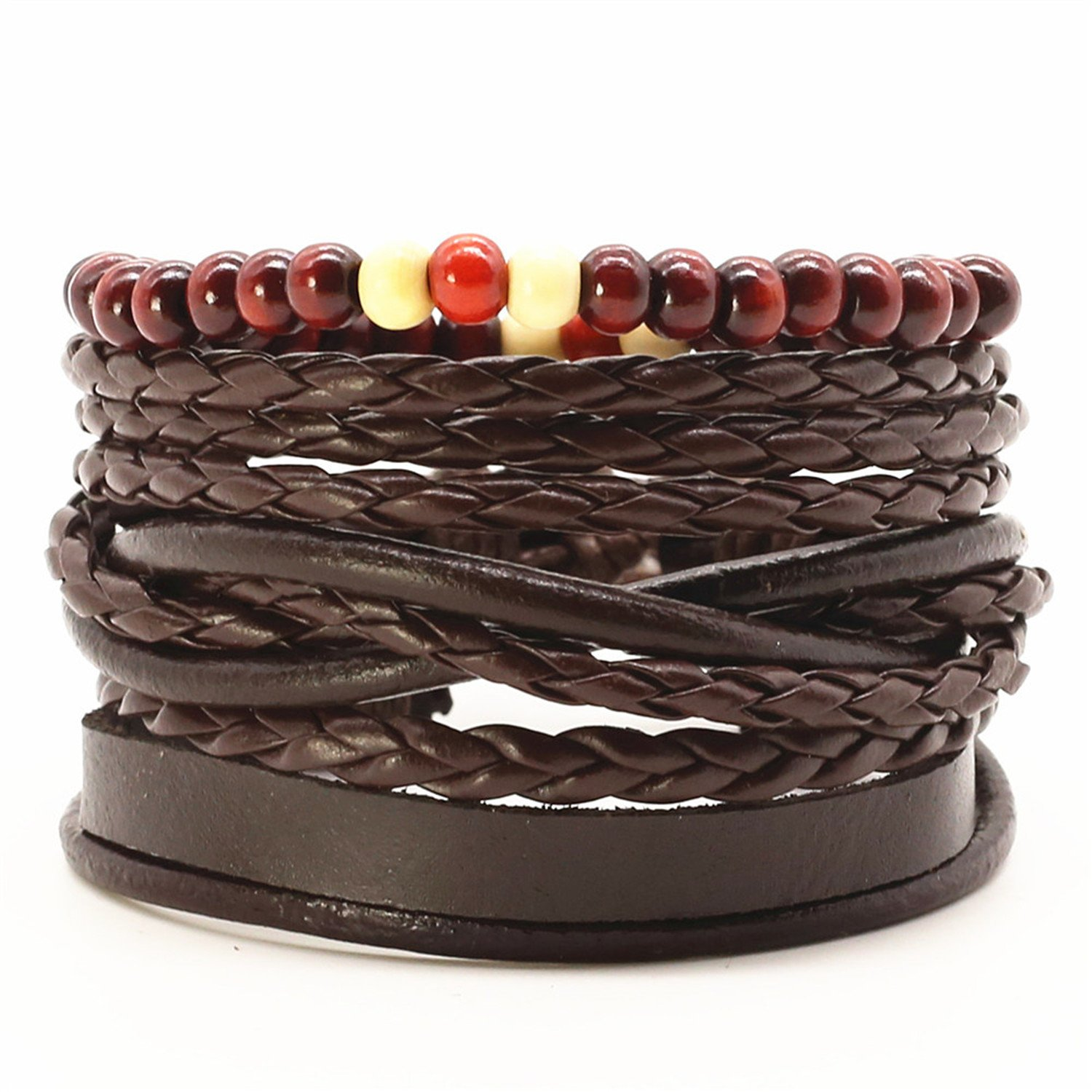 sportsmanship Causul Handmade Beads Rope Woven Men Multilayer Charm Leather Bracelets for Women Homme Fashion Jewelry Accessories