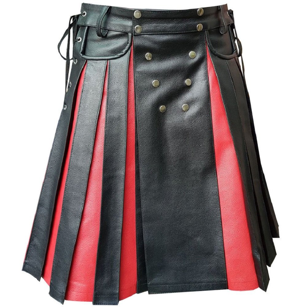 Olly And Ally Mens Black Red Leather Gladiator Pleated Utility Kilt Flat Front Pocket Wrap