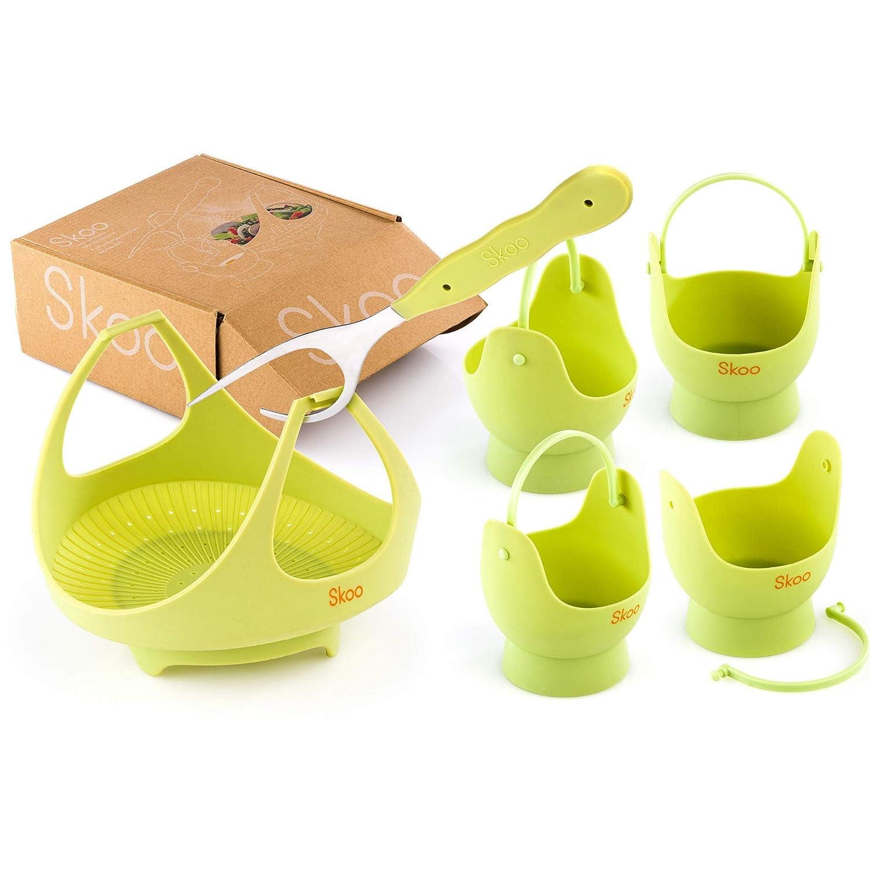 SKOO Vegetable Steamer Basket + Egg Poacher Cups + Fork + Free Ebook - Silicone Egg Cooker and Food Steamer Set - For Stove Top, Instant Pot and Microwave (Green)