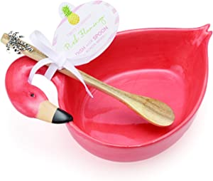 Two's Company Flamingo Dish with Acacia Wood Spoon-ceramic/Wood, , Pink