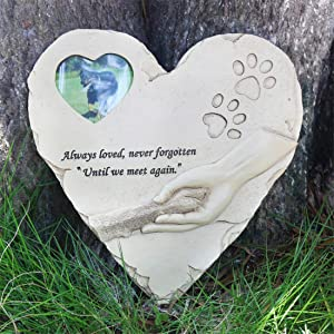 """Heart-Shaped Pet Dog Memorial Stones with Photo Frame, Outdoor Indoor Pet Dog Grave Markers Garden Stones for Garden Patio Backyard or Lawn,Sympathy Pet Dog Memorial Gifts,9.6"""" x 9.5"""""""