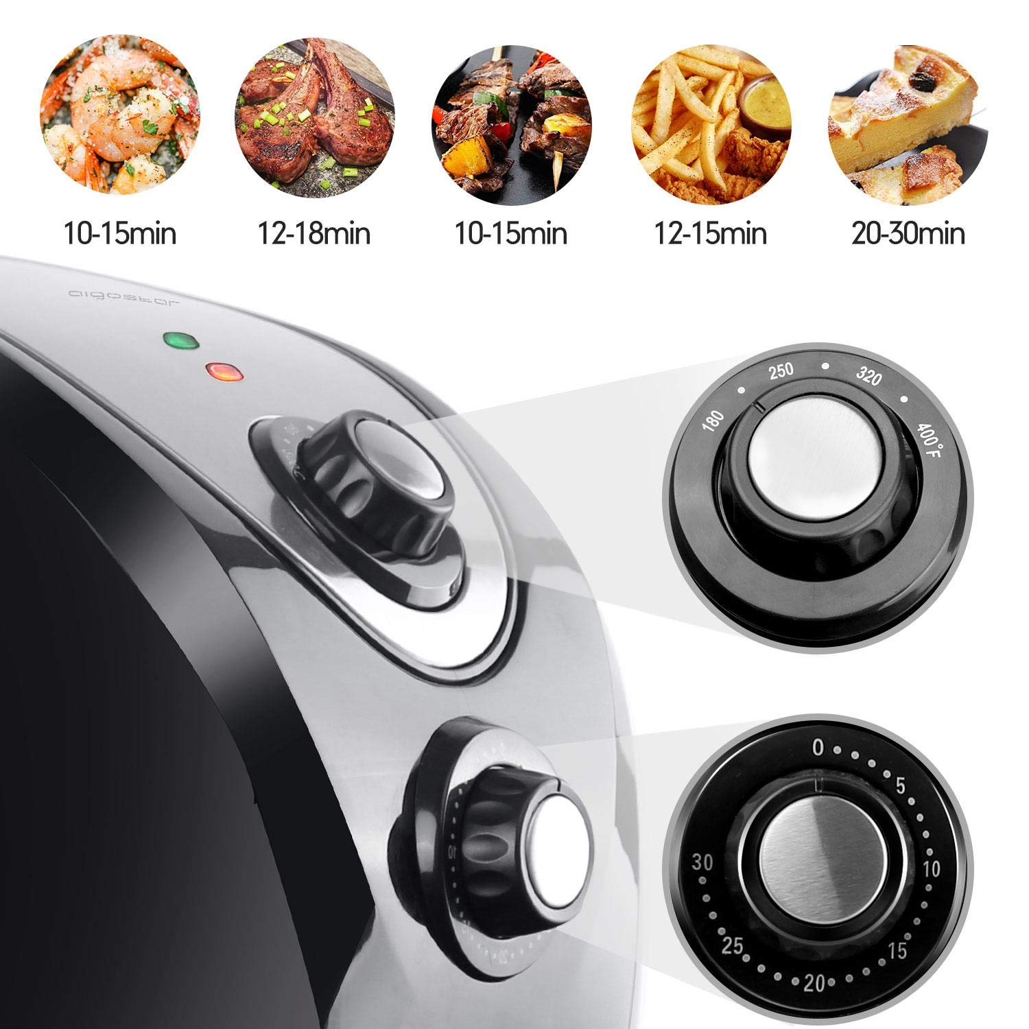 Aigostar Dragon Pro Air Fryer, 3.4Qt Electric Hot Air Fryers Oven Oilless Cooker with Detachable Non-stick Basket & Automatic Timer & Temperature Control for Fast Healthier Fried Food, 1400W by Aigostar (Image #2)