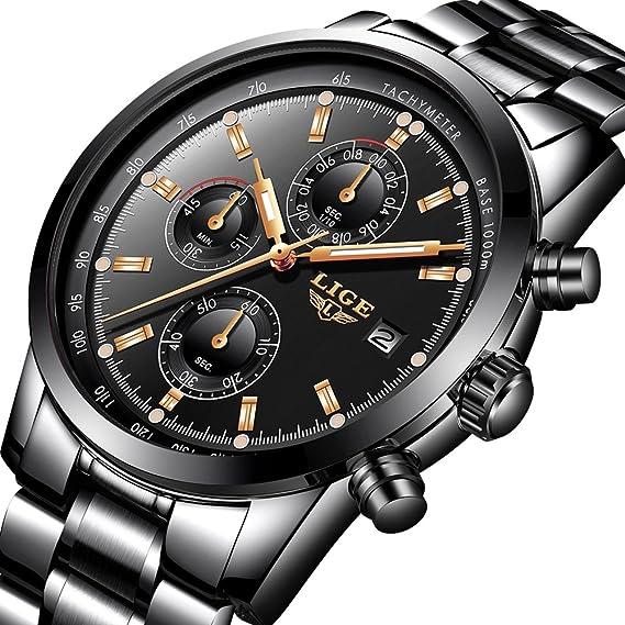 Relojes para hombres, LIGE marca de lujo cronógrafo multifunción deportes reloj de cuarzo analógico hombres