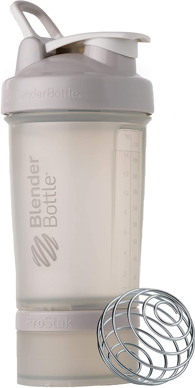 BlenderBottle Shaker Bottle with Pill Organizer and Storage for Protein Powder, ProStak System, 22-Ounce, Smoke Grey