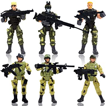 elegantstunning 6Pcs Mordern Military Soldier Model with Movable Joint Weapon Children Toy Halloween Christmas Gift Bags for Kids