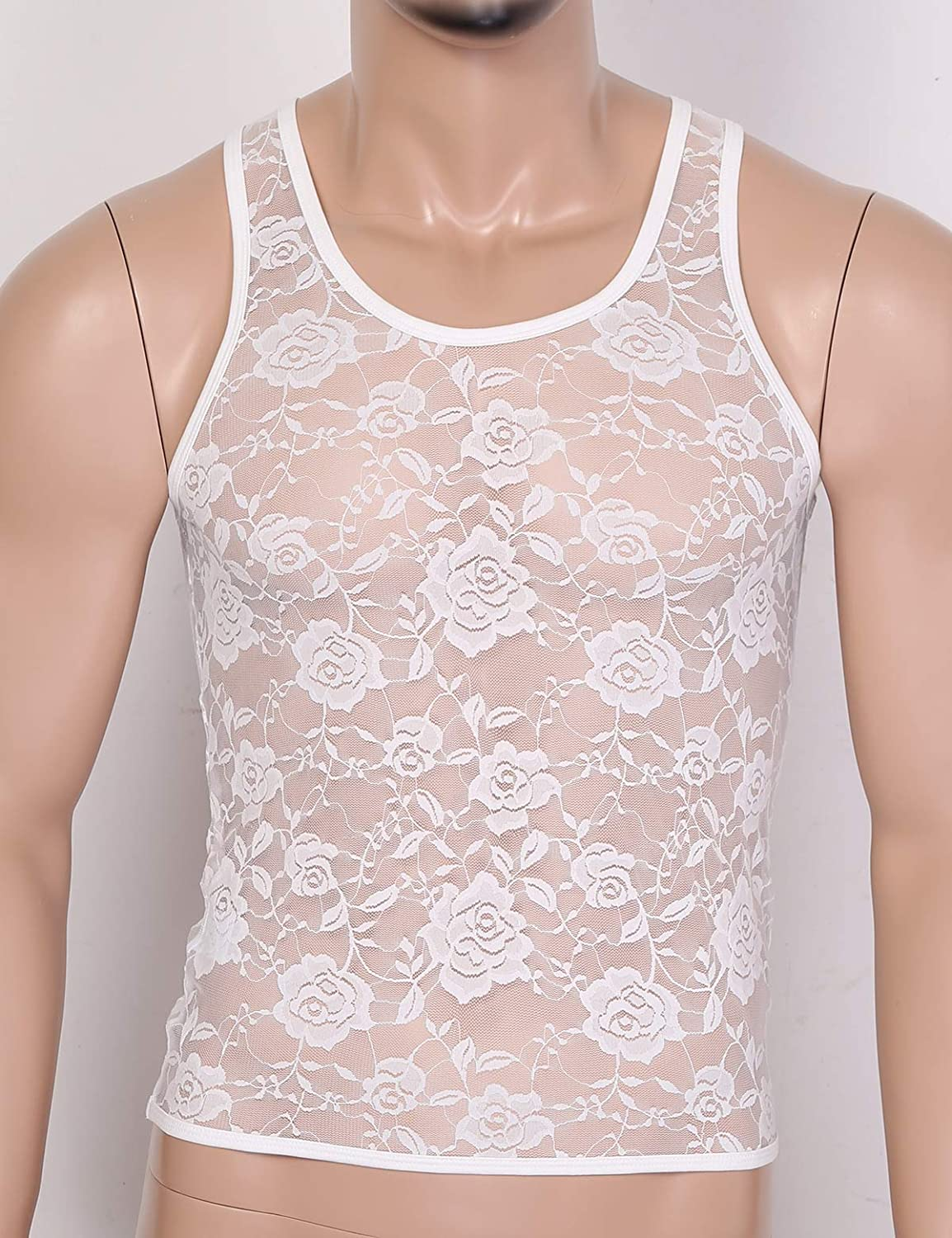 inhzoy Mens Sheer Mesh See Through Lingerie Sleeveless Floral Lace Short Vest Muscle Fitted T-Shirt