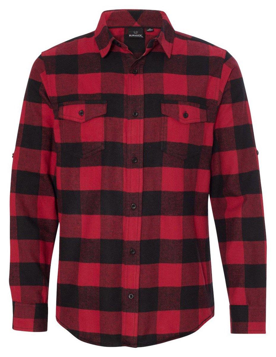 Burnside Yarn-Dyed Long Sleeve Flannel Shirt.B8210 X-Large Red / Black Buffalo