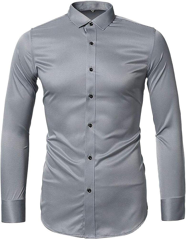 Harrms - Camisa de vestir para hombre, ajustada, de manga larga, formal, casual, con botones, camisas de noche elásticas Gris Gris Azul Medium: Amazon.es: Ropa y accesorios