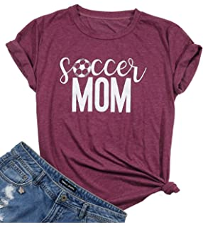 f8ef8042 FAYALEQ Soccer Mom Funny Graphic T-Shirt Women Sport Mom Short Sleeve Tee  Tops Blouse